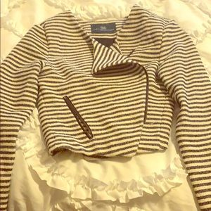Tart Collections Navy & White Moto blazer